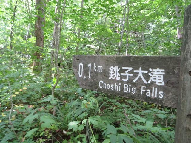 銚子大滝0.1km看板
